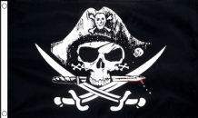 CROSSED SABRES PIRATE - 8 X 5 FLAG